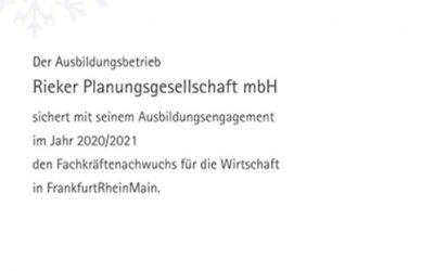 Ausbildungsurkunde für den Standort Frankfurt.