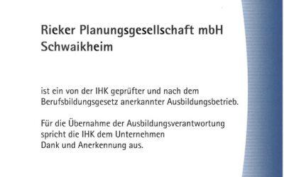 IHK-Ausbildungsurkunde für unsere Niederlassung in Schwaikheim!
